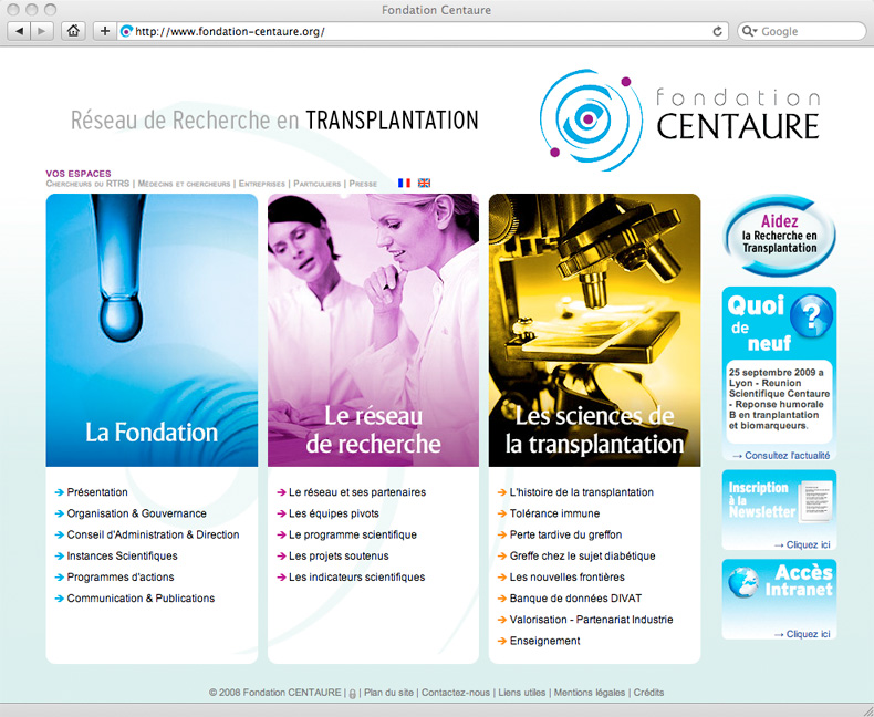 Site Internet fondation Centaure